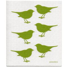 Scandinavian Swedish Dishcloth - Lime Green Robins by Jangneus >>> Learn more by visiting the image link.