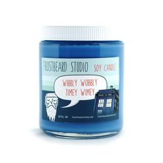 This nerdy candle is a completely original scent and inspired by one of our favorite shows, Doctor Who!    The scent is sweeter than most, slightly