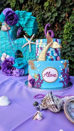 70 New Ideas for baby girl birthday cake theme Baby Girl Birthday Cake, Mermaid Birthday Cakes, Little Mermaid Birthday, Girl Birthday Themes, Mermaid Cakes, 2nd Birthday Parties, Birthday Party Decorations, Birthday Ideas, Party Ideas