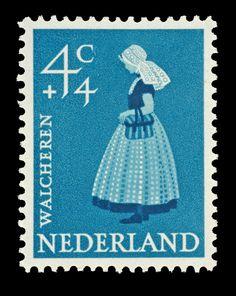 Postzegel Nederland 1958, Zomerpostzegel, Vrouw in Zeeuwse klederdracht ontwerper: Wetselaar, Pieter [Piet] #Zeeland #Walcheren