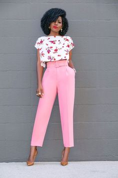 Floral Crop Top and Belted Pegged Trousers. Fashion Mode, Work Fashion, Modest Fashion, Fashion Pants, Fashion Dresses, Womens Fashion, Fashion Trends, Midi Dresses, Classy Outfits