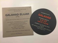 We love the combination of the circle party card and square invite - the pop of orange brings a little excitement! Please contact Out of the Box NY for cost and more information. Box Invitations, Bar Mitzvah Invitations, Custom Invitations, Torah, Bat Mitzvah, Pop, Orange, Party, Popular