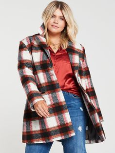 V by Very Curve Printed Button Front Coat - Check Check Coat, High Leg Boots, Long Toes, Work Wear, Size 14, Latest Fashion, Dress Outfits, Going Out, Fitness Models