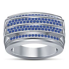 Excellent Men's Wedding Band Ring in Blue Sapphire White Gold Finish 925 Silver…