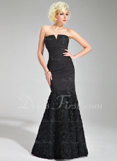 Trumpet/Mermaid V-neck Floor-Length Chiffon Evening Dress With Ruffle Beading Appliques Lace Flower(s) Cheap Formal Dresses, Prom Dresses For Sale, Prom Dresses Online, Formal Gowns, Ball Dresses, Strapless Dress Formal, Dresses 2013, Chiffon Evening Dresses, Black Evening Dresses