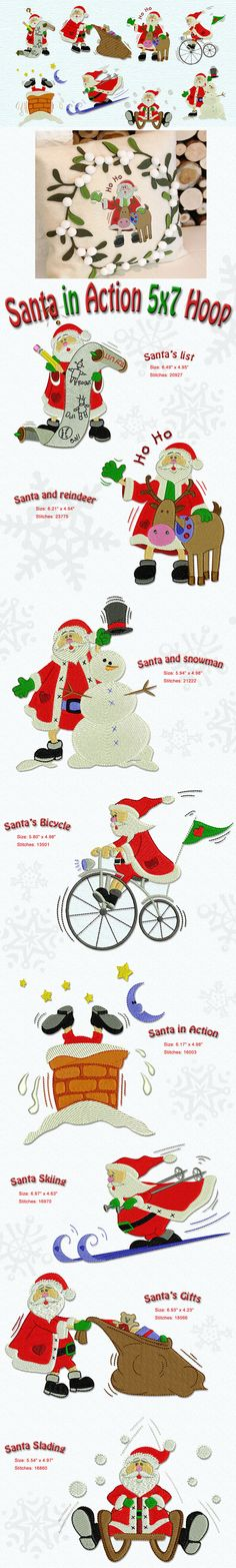 Santa on the go! This delightful collection features our beloved Santa in the midst of the rush of activities typical of Christmastime. The designs in this collection fit a 5x7 hoop.