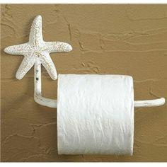 Starfish Toilet Paper Holder (White) nautical beach house bathroom decor