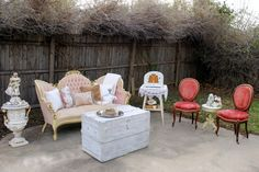 Priscilla, Ruby Chairs, white trunk lounge area, Rent My Dust lounge area for your vintage wedding at rentmydust.com