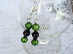 Green and black dangle earrings by OnTheWireByMaryJane on Etsy, $15.00