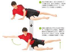 コアトレーニング~体幹アブダクション&バランス 脇腹と殿部を鍛えて体幹の安定力をアップさせる。体幹部を構成する腹斜筋群と、骨盤を安定させる中殿筋に効くトレーニング。これらの筋肉を鍛えると、腹をへこますと同時に、上半身の動きを安定させることもできる。ゴルフやテニス、ランニングなど、スポーツのパフォーマンス向上にもつながる。