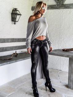 Light Gray Asymmetric Blouse Tunic / Asymmetric Short Front