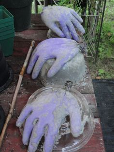 Cement hands made from rubber gloves and cement