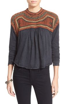 Free People 'Snow Bunny' Embroidered Swing Top available at #Nordstrom