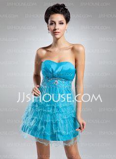 Mini Taffeta Tulle Cocktail Dress