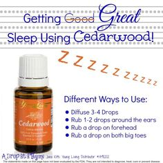 Nothing say sleep like Young Living's Cedarwood! . www.youngliving.com use 1492362 for enrollment info and I will send you an Essential Oil Reference Book if you purchase a premium starter kit.