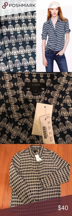 J. Crew Owl Silk Blouse Whimsical owl print on deep real background. NWT size 4- too small for me so I'm buying another on PM. 100% silk - wear untucked with jeans or dress it up with a black pencil skirt and heels! J. Crew Tops Blouses