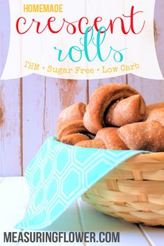 Indulge with these tasty, real food, THM friendly, sugar free, homemade crescent rolls! Thm Recipes, Real Food Recipes, Bread Recipes, Healthy Recipes, Crescent Roll Recipes, Crescent Rolls, Thm Bread Recipe, Paleo Bread, Homemade Cresent Rolls