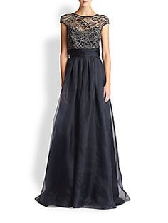 Theia - Lace-Bodice Ball Gown