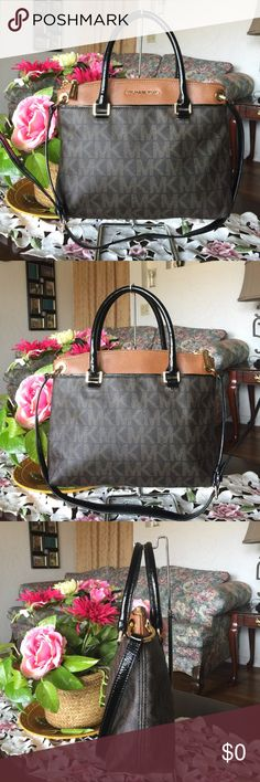 """Michael kors signature handbag/shoulder bag Michael kors signature handbag/shoulder bag ,not a crossbody! Color:brown/black with good hardware, safiano leather/patent leather trim..measures 12""""(w)x9 1/2""""(H)x3 1/2""""D , double straps 6 1/2"""" longer removable shoulder bag measures 14 1/2"""", the bag is used with normal wear from used but in great condition,from smoke & pet free home! This bag is 100% authentic!! Pls read the description before buying ! Thanks 🙏 Michael Kors Bags Satchels"""