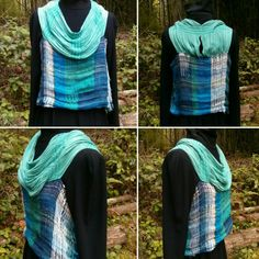 Linen top with scarf sewn on as shoulders, cowl, yoke.