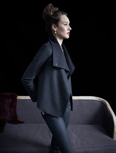 - clean lines - slim silhouette - tailored sleeves - hand made - snap buttons with invisible stitches - side seam pockets - draped lapels - contrast color interior - 100% cashmere - fully lined - dry