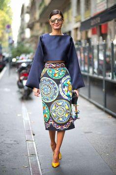 Cores e Estampas - Milão Fashion Week Streetstyle