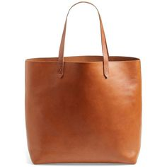 Madewell 'The Transport' Leather Tote ($168) ❤ liked on Polyvore featuring bags, handbags, tote bags, purses, accessories, totes, brown leather tote, brown purse, leather tote handbags and brown leather purse
