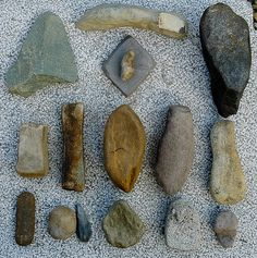 Stone tools. Whetstones, grinding stones, a hammer stone, stones for softening skin, for smudging herbs ore natural dyes, and ritual stones.