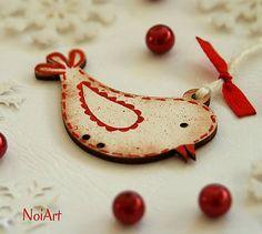 Vianočná ozdoba VTÁČIK lemovaný