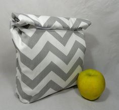 Lunch Bag . Reusable Lunch Sack . Grey by spitsngigglesbaby, $24.99