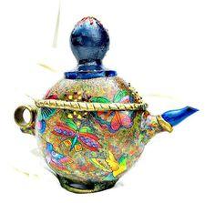 Decoupage Gourd Tea Pot