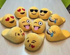 Emojis for your feet? You will fall in love with these cute plush emoji slip-on slippers. Emoji Love, Cute Emoji, Christmas Wishes, Xmas, Emoji Board, Cute Slippers, Winter Slippers, Ciabatta, Gifts For Kids