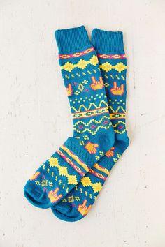 Neon Fair Isle Boot Sock
