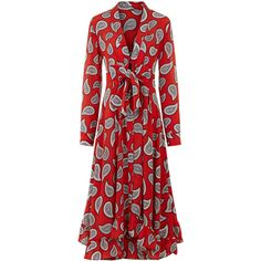 Dodo Bar Or Red Paisley Lennon Tie Front Dress (€785) ❤ liked on Polyvore featuring dresses, red holiday dress, circle skirt, red dress, cocktail dresses and special occasion dresses