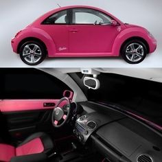 """Or maybe in a """"Victoria's Secret PINK"""" VW bug ~ luggage piled in the trunk!"""