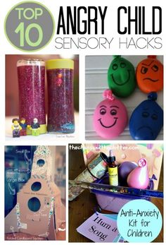 These are the Top 10 Angry Child Sensory Hacks. They are perfect for a calming corner and sensory tools basket to help children cope with anger and frustration Social Work, Social Skills, Coping Skills, Angry Child, Sensory Tools, Sensory Diet, Sensory Issues, Diy Sensory Toys, School Psychology