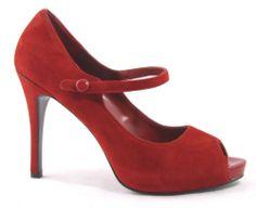 New Nine West Luminous Red Suede Mary Jane Peep Open Toe Heel Pump Leather 9 5 | eBay