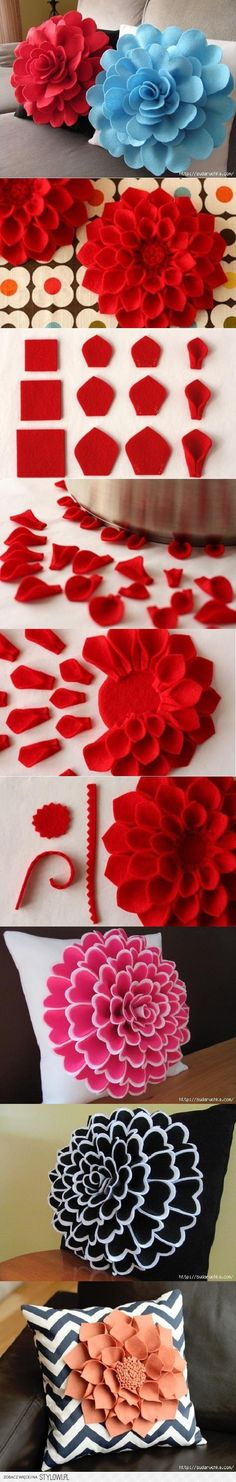 diy Felt Flower Pillow tutorial - sofa decoration, felt flowers crafts - what' beautiful! diy felt flowers tutorial that are too beautiful to ignore by xiaoxiao Felt Crafts, Fabric Crafts, Sewing Crafts, Diy And Crafts, Arts And Crafts, Felt Diy, Creative Crafts, Handmade Flowers, Diy Flowers