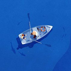 Father's day. #illustration #art #drawing #fathersday #fishing #boat #blue
