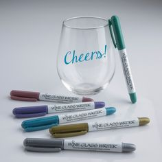 No need to worry how to identify tumblers and other stemless glasses. Wine markers stay on for the party, and washes off with a sponge or in the dishwasher. Wait 30 seconds after writing on glass until ink sets. For chilled wine, put name above pour line.