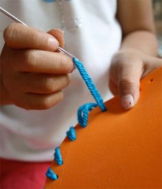 First sewing project DIY. Teach your little one how to sew with this cute purse idea. #sew skiptomylou.org