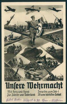 """Nazi postcard, """"Usere Wehrmacht"""" (Our Wehrmacht)"""