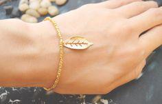 C-056 Gold Beaded bracelet, Seed bead bracelet, Leaf bracelet, Pendant Bracelet, Simple bracelet, Charm bracelet/Everyday jewelry/