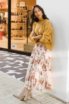 Karlee Floral Pleated Skirt - Long skirt outfits for fall - Modest Clothing, Modest Dresses, Modest Fashion, Fashion Outfits, Apostolic Fashion, Fashion Tips, Floral Clothing, Long Skirt Fashion, Apostolic Style
