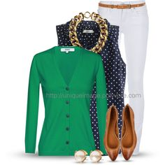 """Spring Look Picture Description """"Polka Dots & Pearls"""" by uniqueimage on Cardigan Vert, Green Cardigan Outfit, Style Casual, Casual Outfits, Cute Outfits, Fashion Outfits, Womens Fashion, Green Outfits, Style Work"""