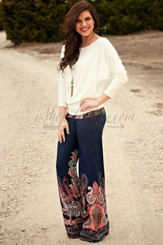 JUST ABOUT ANYWHERE PALAZZO PANTS + LUXURIOUS SS COMFY FIT in OFF WHITE. LaRue Chic Boutique