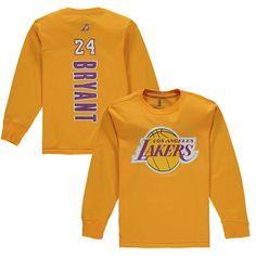de84243db49 Kobe Bryant Los Angeles Lakers Youth Backer Long Sleeve T-Shirt - Gold
