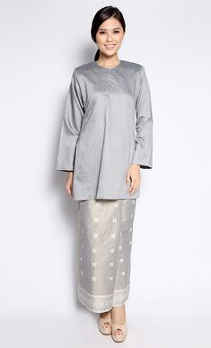 Songket Kurung in Grey FashionValet Muslim Fashion, Hijab Fashion, Fashion Outfits, Womens Fashion, Fashion Styles, Traditional Fashion, Traditional Dresses, Model Kebaya, Friday Outfit