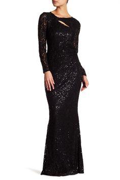 Front Cutout Embellished Long Dress