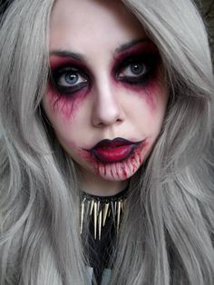 How to Make Up This Halloween Make Up?- Wie diese Halloween make up schminken? I would start with light powder or make-up Then make the eyes with song shadow or kajal dark ham and outward with red song shadow a transition … -